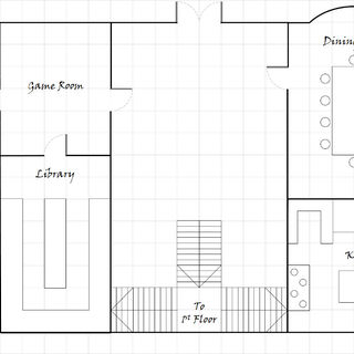 Ground floor of Ennis House, derived from map drawn by Kim Richards