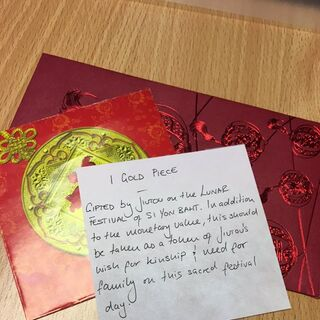 The contents of the red envelopes Jiǔtóu gave to Trellimar and Elora, as tweeted by Kim after LF Episode 4