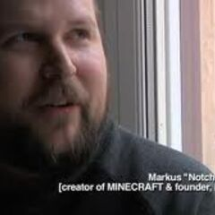 Notch during his interview for the Minecraft documentary by 2 PlayerProductions.