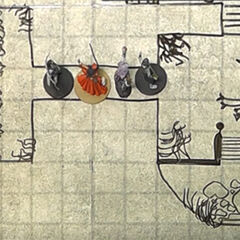 Dungeon maps are common throughout the series. This scene shows the <a href=