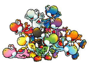 Yoshi Species - Group Artwork - Yoshi's Island DS