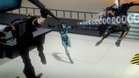 Ted Kord fighting Sportsmaster and Deathstroke