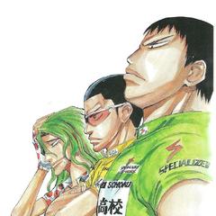 Makishima with Tadokoro and Kinjou.