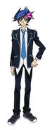 Yusaku in his school uniform