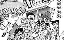 Crowd laughing at Jonouchi's mistake