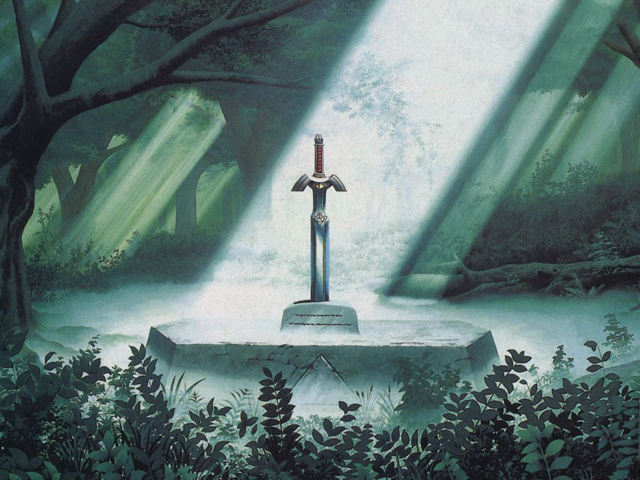 File:Master Sword in the Lost Woods.png