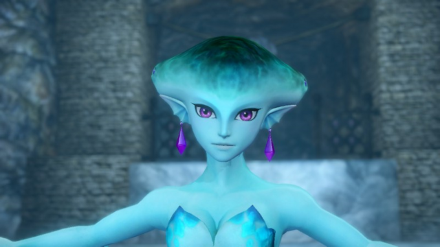 File:Hyrule Warriors Zora's Domain (King's Hall) Princess Ruto (Victory Cutscene).png