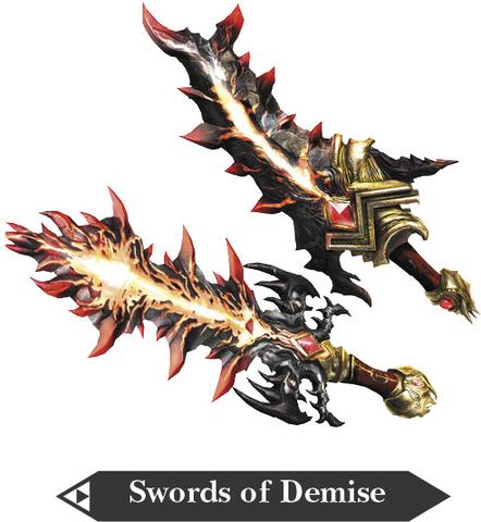 File:Hyrule Warriors Great Swords Swords of Demise (Render).png