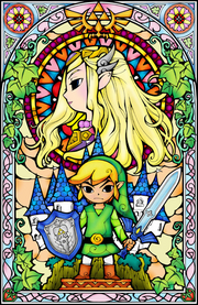 Link and Zelda Stained Glass Window