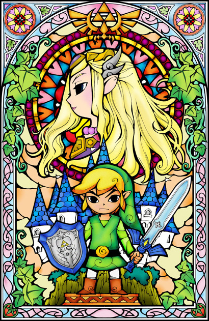 Image Link And Zelda Stained Glass Window Png