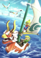 Hyrule Warriors Legends Artwork King of Red Lions, Toon Link, and Tetra (Artbook Portrait).png