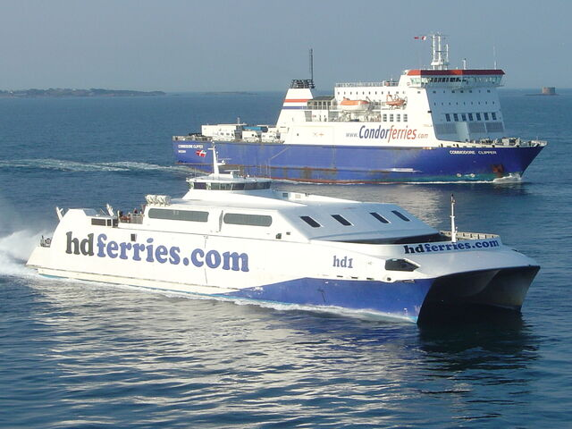 File:Condor Ferries and HD Ferries at St. Peter Port Guernsey.jpg