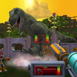 A rampaging <i>T. rex</i>